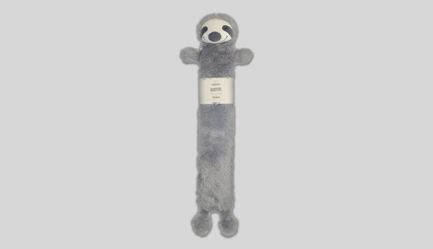 Silver 72cm Long Hot Water Bottle with Novelty Cover – Sloth Design