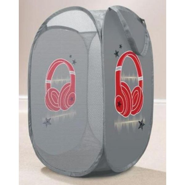 Tidy your little one dirty clothes in style with this grey headphones kids laundry basket.