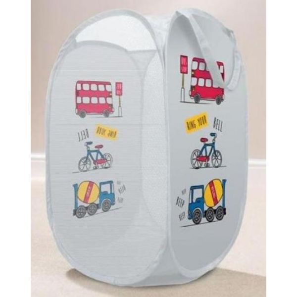 Tidy your little one dirty clothes in style with this grey transport childrens laundry basket.