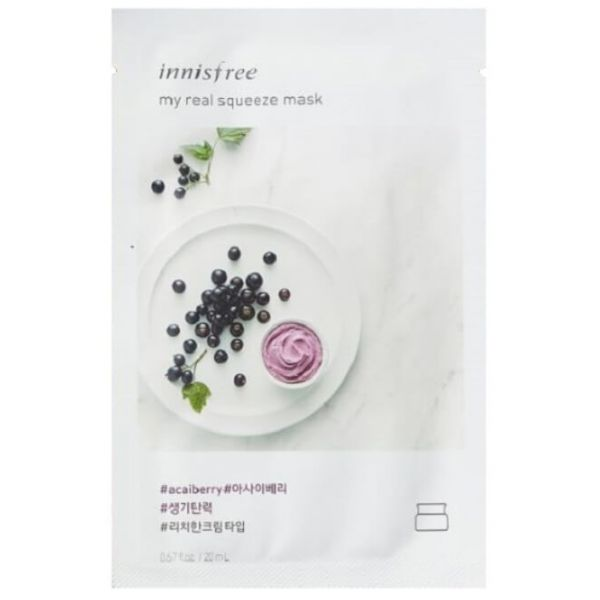 Innisfree my real squeeze mask enriched with carefully squeezed acai berry leaves the skin full of life and resilient.