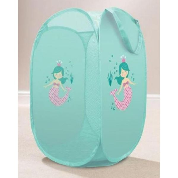 Tidy your little one dirty clothes in style with this turquoise mermaid kids laundry basket.