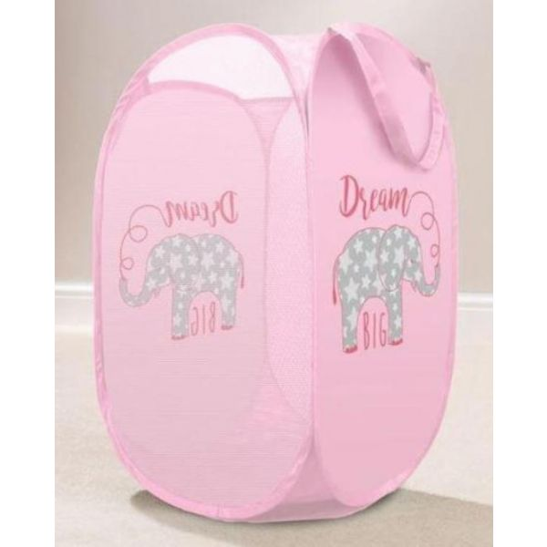 Tidy your little one dirty clothes in style with this pink elephant children's laundry basket.