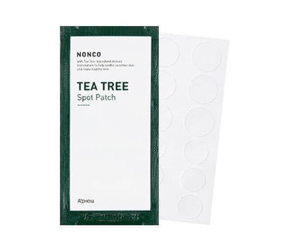 This Apieu Nonco Tea Tree Spot Patch helps to soothe sensitive skin, protect pimples from bacteria and keeps skin healthy.