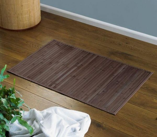 Brown bamboo bath mat made from natural bamboo, and a perfect addition to any bathroom.