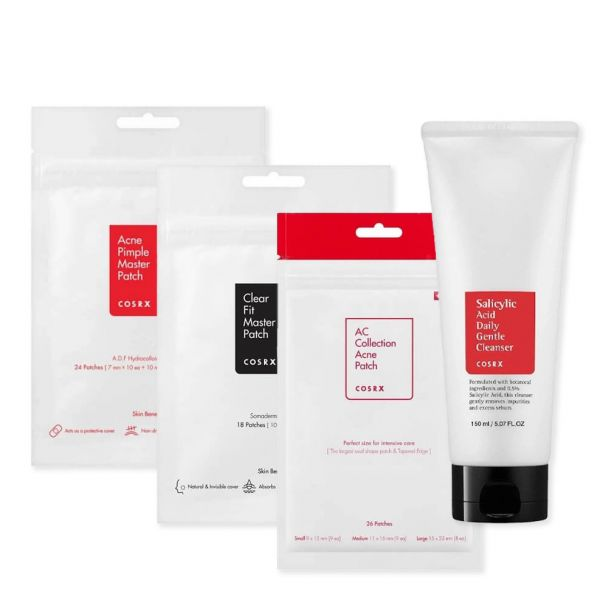 Say goodbye to acne, blackheads and whiteheads with these 3 Cosrx acne spot patches and Salicylic acid daily gentle cleanser.