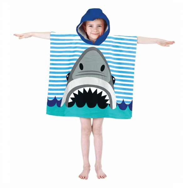 Our soft and cosy hooded poncho towel in Shark design is perfect for the beach, after swimming or bath time.