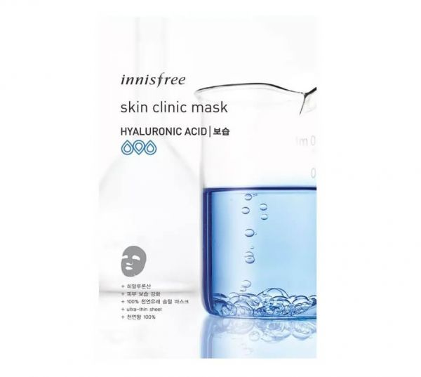 Innisfree Hyaluronic Acid Skin Clinic Sheet Mask relieves skin dryness leaving your skin feeling soft and hydrated.