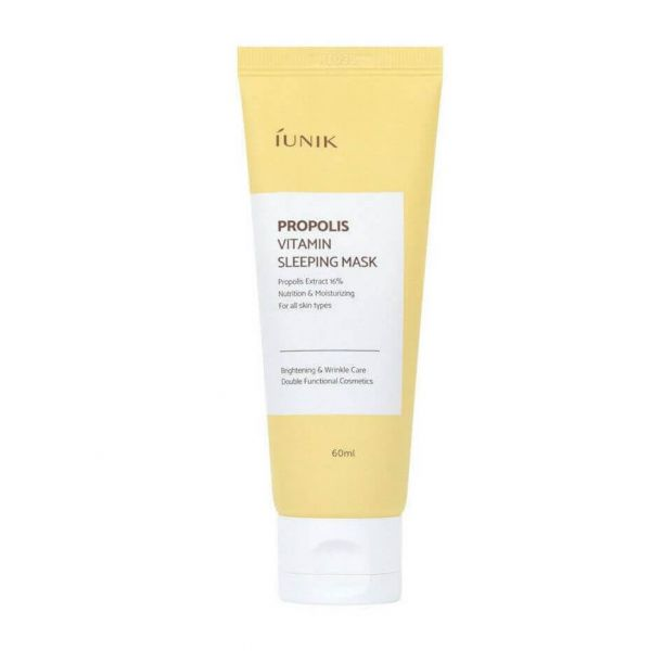iUNIK Propolis Vitamin Sleeping Mask is a dual function sleeping mask that provides brightening and wrinkle care benefits for skin.