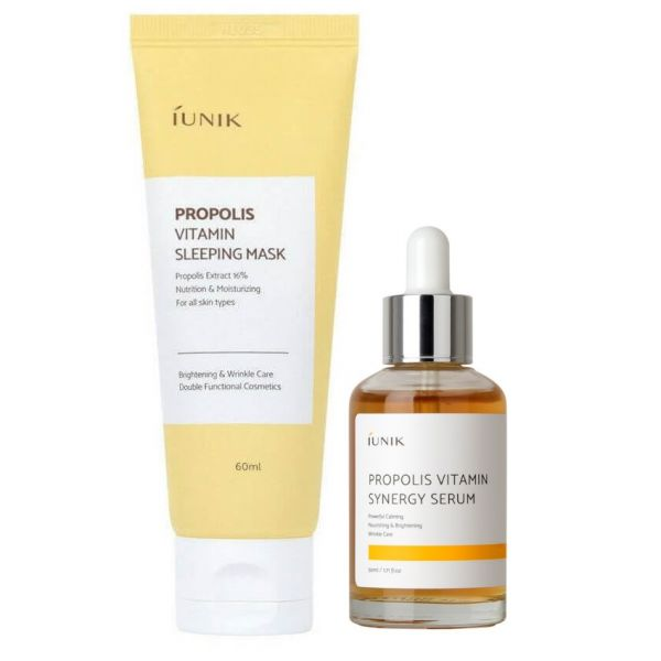 Revitalise, brighten your skin and keep it clear and nourished with this iUNIK Propolis Vitamin skincare combo.