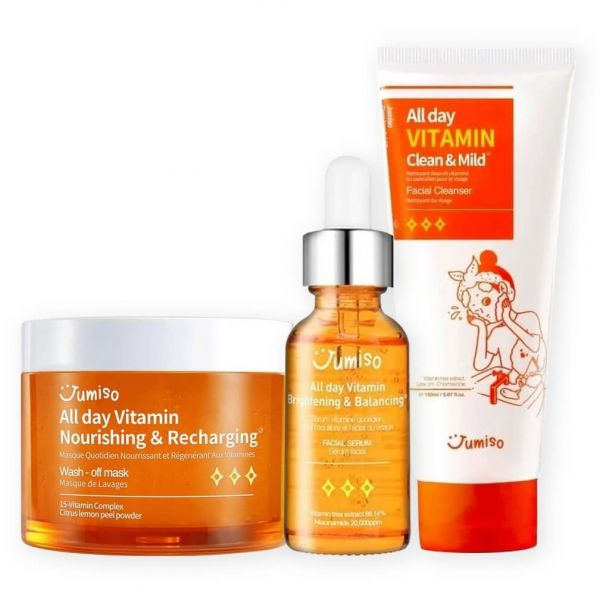 Jumiso All Day Vitamin Facial Skincare Set helps to brighten skin, improve hyperpigmentation and revitalize dull tired skin.