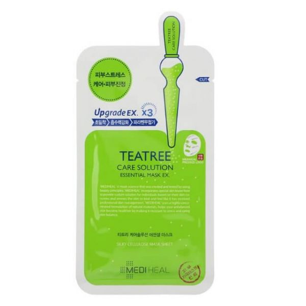 This Mediheal Teatree care solution essential mask helps to soothe irritated, sensitive skin and keep it moisturised.