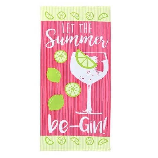 A large ultralight, soft microfibre towel ideal for travelling or the gym with let the summer be-gin wording.