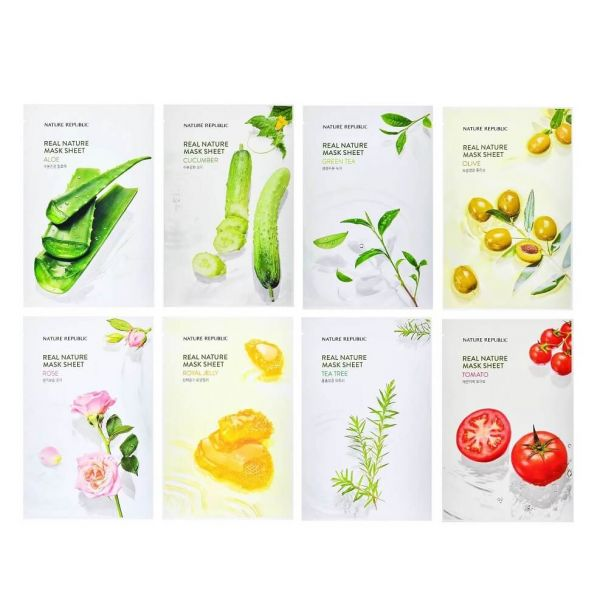 Grab this Nature republic real nature sheet mask 8-pack bundle set enriched with ingredients to address your skin concerns.