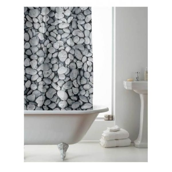 Refresh your bathroom with our pebbles design shower curtain with rings.