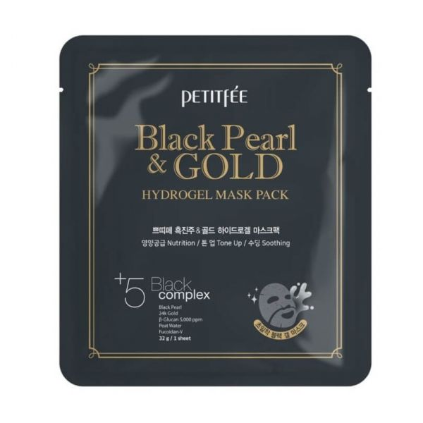 Petitfee Black Pearl and Gold Hydrogel Mask Pack helps to strengthen, lift and brighten skin.