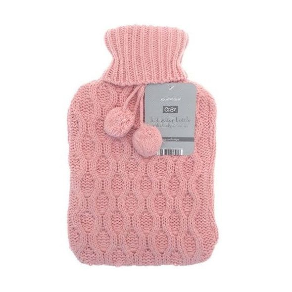 Get instant comfortable heat with this pink hot water bottle. Comes in a trendy chunky knit cover.