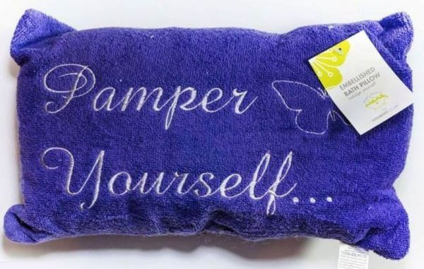 Purple luxury bath pillow with pamper yourself embroidery is designed for ultimate relaxation in the bath.