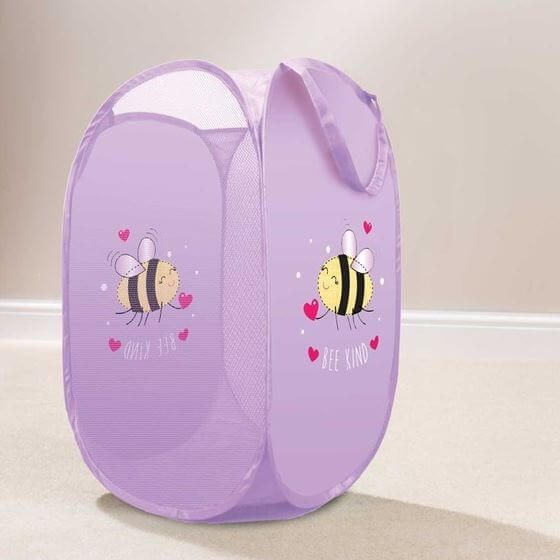 Tidy your little one dirty clothes in style with this purple bee kids pop up laundry basket.