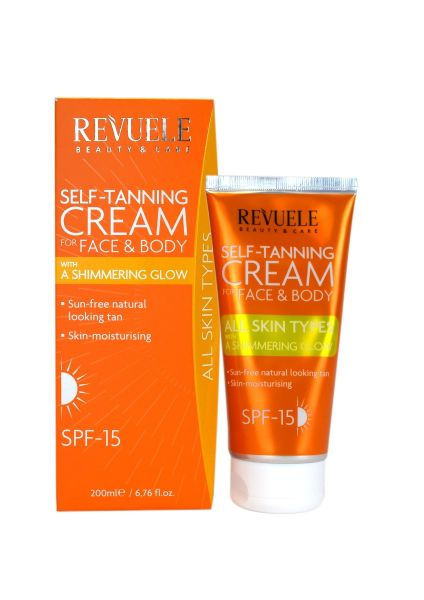 This self-tanning cream for face and body with a shimmering glow is ideal for all skin types.