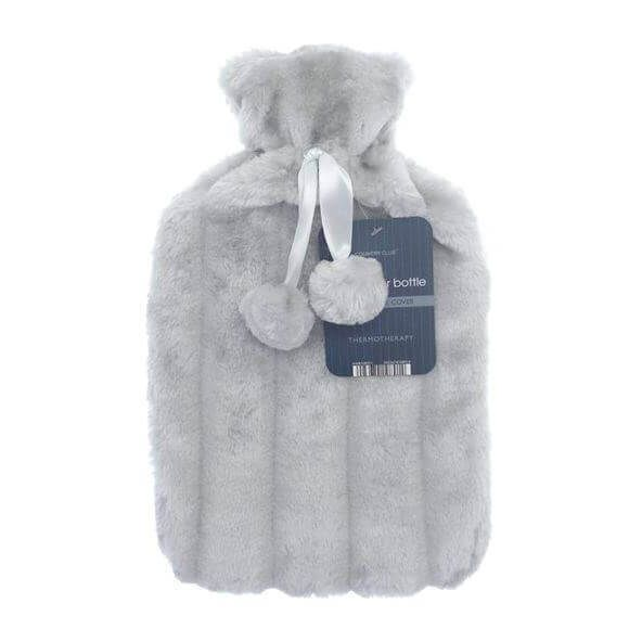 Achieve instant comfortable heat with this soft and warm small hot water bottle. Comes in a silver colour.
