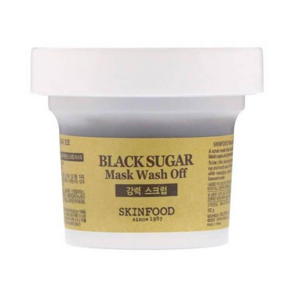 Skinfood black sugar wash off mask that contains mineral enriched black sugar, and promotes glowing, smooth skin.