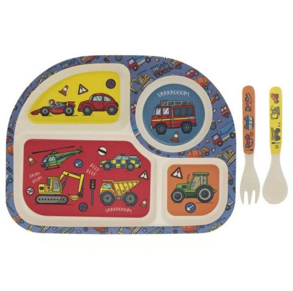 Kids bamboo dinner set in vehicles design. BPA and Phthalate free. Gift idea for baby showers and kids present.