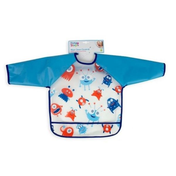 Aliens long sleeve bib for babies and toddlers that keeps your little one clean during mealtimes.