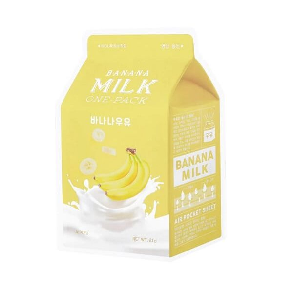 This Apieu Korean sheet mask is enriched with milk extract, banana extract and royal jelly extract.