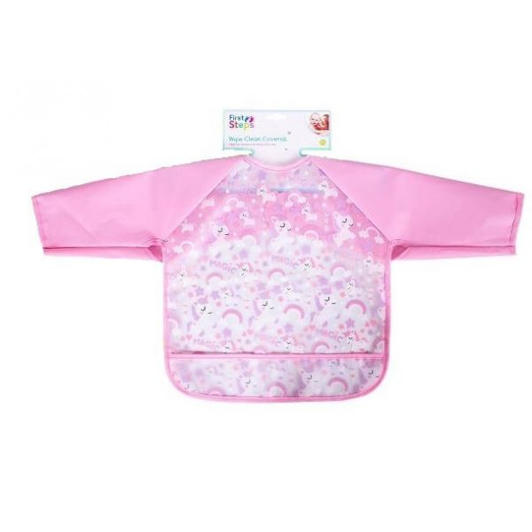 Baby Unicorns long sleeve bib for babies and toddlers that keeps your little one clean during mealtimes.
