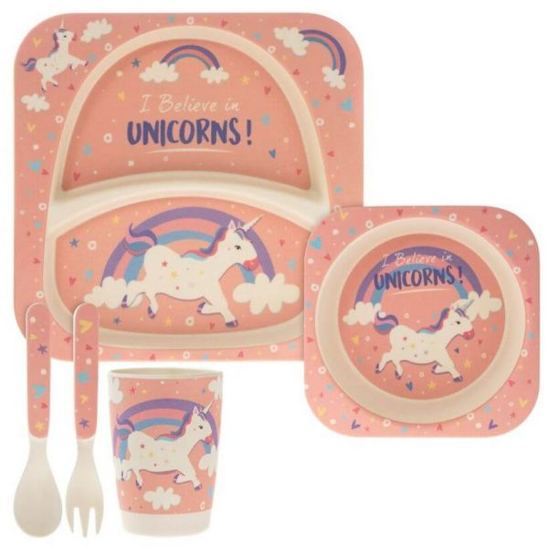 Lovely kids bamboo dinner set in unicorn and rainbows design. BPA free. Gift idea for baby showers and kids presents.