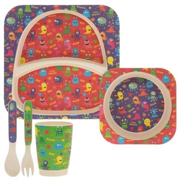 Lovely kids bamboo dinner set in monsters design. BPA and Phthalate free. Gift idea for baby showers and kids presents.