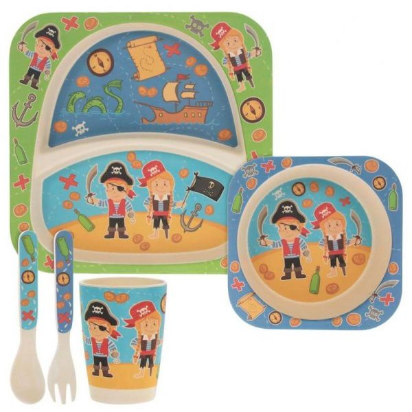 Lovely kids bamboo dinner set in pirates design. BPA and Phthalate free. Gift idea for baby showers and kids presents.