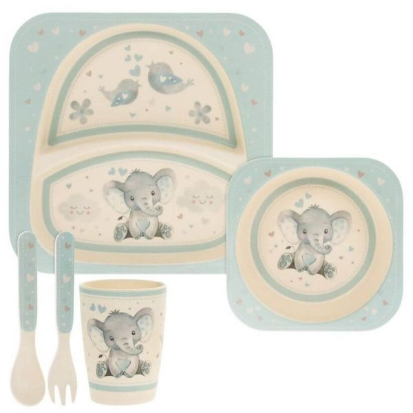 Kids bamboo dinner set in blue elephant and bird design. BPA and Phthalate free. Gift idea for baby showers and kids present.