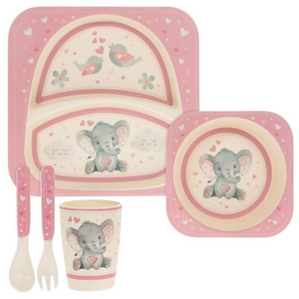 Kids bamboo dinner set in pink elephant and bird design. BPA and Phthalate free. Gift idea for baby showers and kids present.