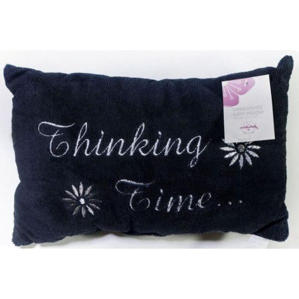 Black luxury bath pillow with thinking time embroidery is designed for ultimate relaxation in the bath.