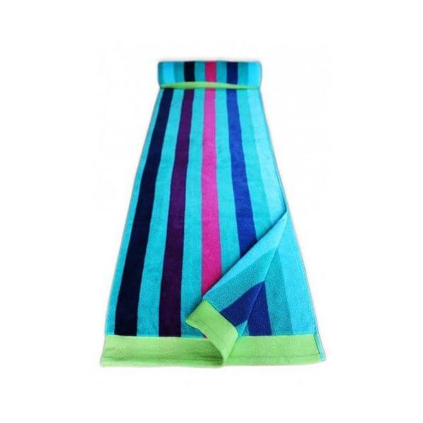 Blue stripe beach towel made from 100% cotton. Very durable and soft. Perfect for that next holiday.