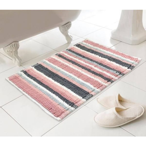Super soft and luxurious bobble bath mat in a vibrant pink and grey stripe colour.