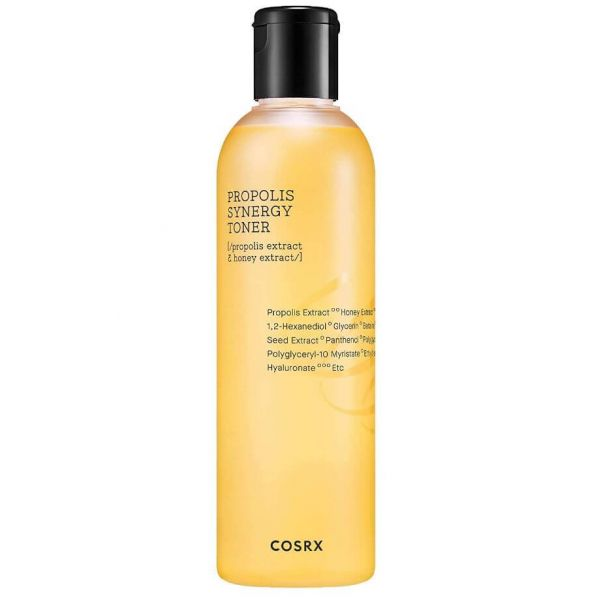 Cosrx Propolis Synergy Toner is a hydrating and soothing toner that leaves your skin with a refreshing and glowy finish.