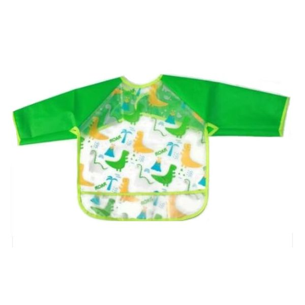 Dinosaur long sleeve bib for babies and toddlers that keeps your little one clean during mealtimes.