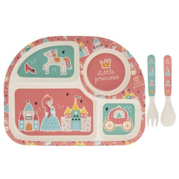 Kids bamboo dinner set in fairytale design. BPA and Phthalate free. Gift idea for baby showers and kids present.