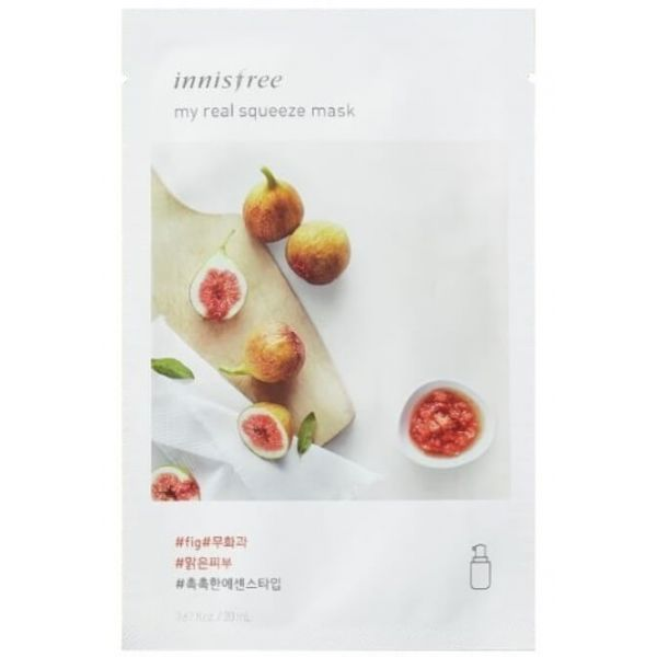 Innisfree my real squeeze mask enriched with rich vitamins carefully squeezed from figs leaves dull skin smooth and clear.