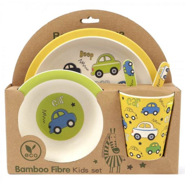 Cute 5-piece kids bamboo dinner set in a Cars design that your little one will love.