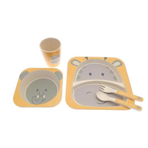 5 piece children's bamboo dinner set in a cute elli and raff design that your little one will love.