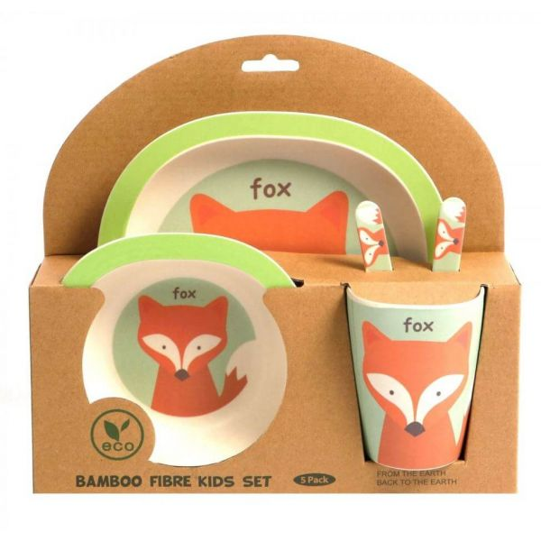 Lovely kids bamboo dinner set in Fox design. BPA free. Gift idea for baby showers and kids presents.