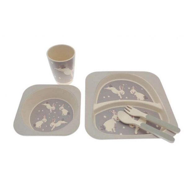 5 piece children's bamboo dinner set in a cute rabbit design that your little one will love.