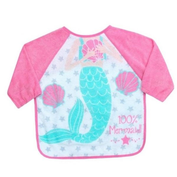 Mermaid long sleeve bib for babies and toddlers that keeps your little one clean during mealtimes.