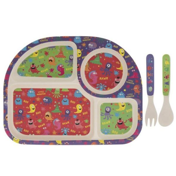 Kids bamboo dinner set in monsters design. BPA and Phthalate free. Gift idea for baby showers and kids present.