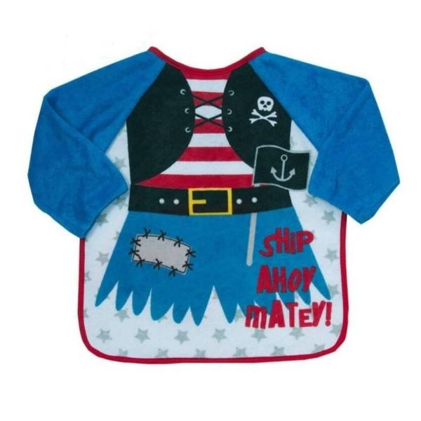 Pirate Long sleeve bib for babies and toddlers that keeps your little one clean during mealtimes.