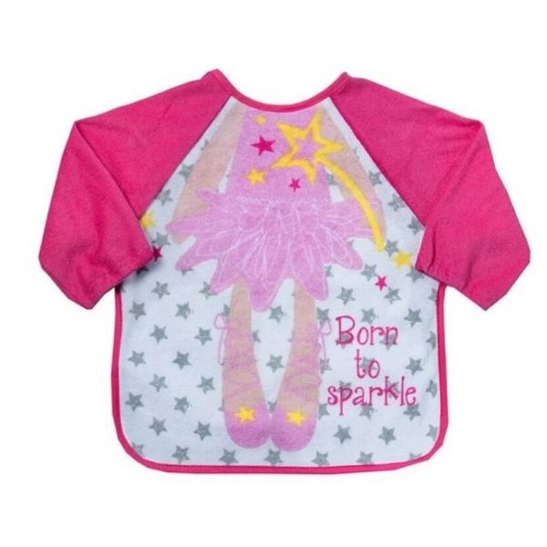 Princess Ballerina long sleeve bib for babies and toddlers that keeps your little one clean during mealtimes.