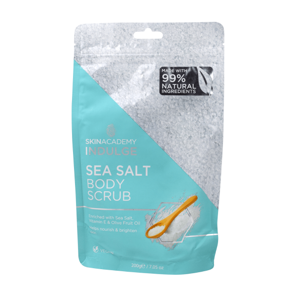 This Sea Salt scrub for body enriched with Sea salt, Vitamin E and Olive fruit oil helps to brighten and nourish skin.